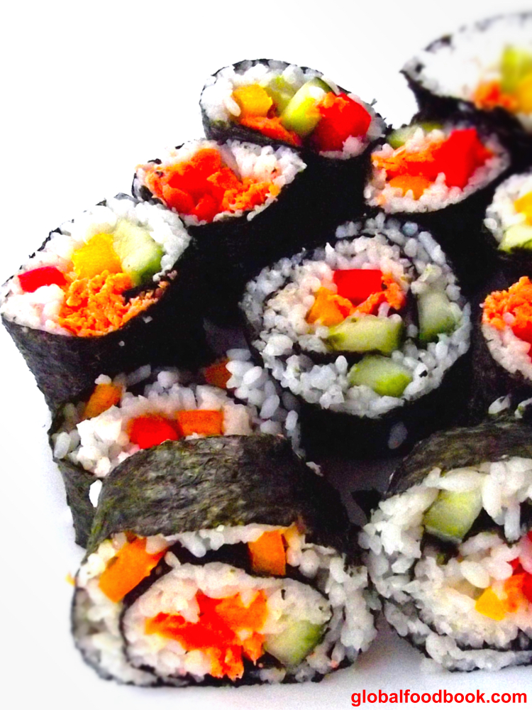 salmon and vegetable sushi recipe.