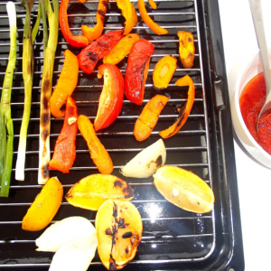 Griddled Spring Onions, Carrots With Masala Sauce