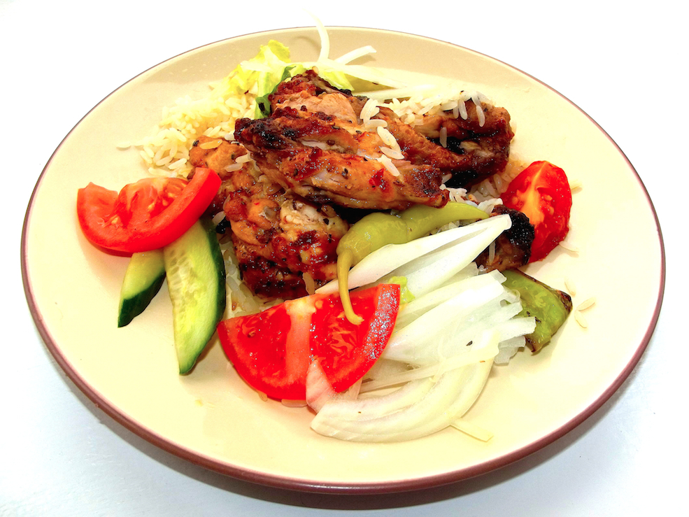 GRILLED CHICKEN, VEGETABLES WITH RICE