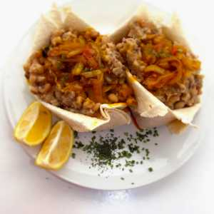 Tortilla Beans With Onions Sauce