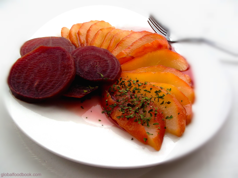 poached pear&beet