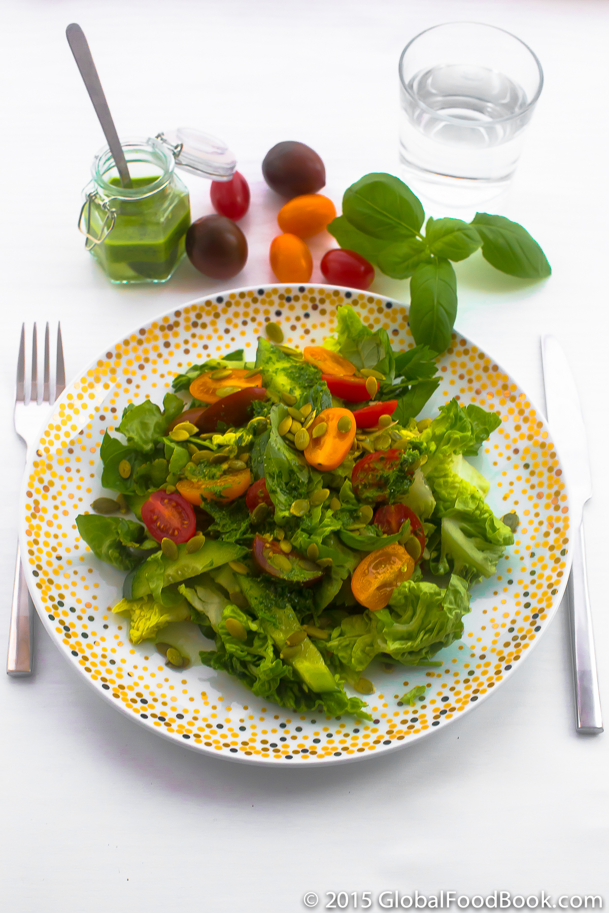 cucumber, lettuce, tomato, basil and parsley salad-2