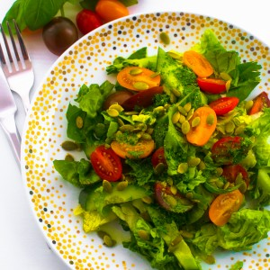 CUCUMBER, LETTUCE, TOMATO, BASIL AND PARSLEY SALAD