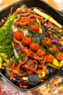 SEA BASS WITH MIXED VEGETABLES